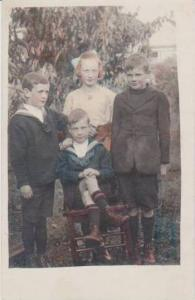 Hand Tinted RP: Sister w/ Three Brothers in Sailor Outfits in Yard, Pre-1907 ...