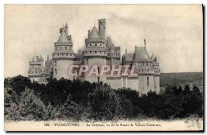 Old Postcard Pierrefonds the castle from the road from Villers Cotterets