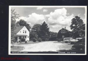 RPPC SARONA WISCONSIN 1940's CARS AUDUBON CAMP VINTAGE REAL PHOTO POSTCARD