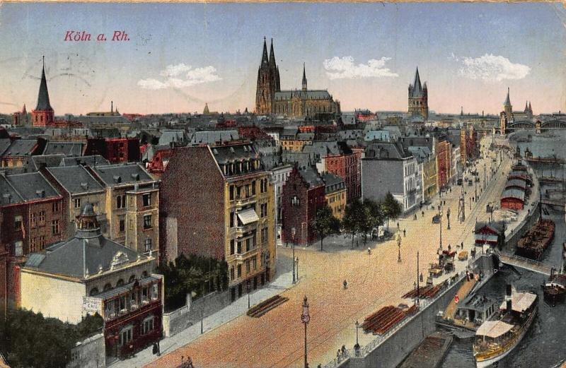 Koln am Rhein River Boats Bateaux Cathedral Church Panorama Postcard