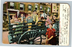 New York City NYC - Children In Cart in the Italian Quarter Vintage Postcard