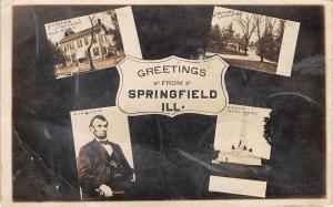 Springfield IL~Abraham Lincoln Multi Mini View~Portrait~Home~Cemetery~1910 RPPC