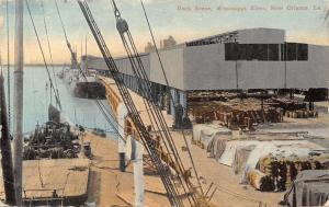 New Orleans~Mississippi River~Loading Dock Scene~Warehouse~Cotton? in Bags c1910