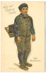 Christmas The Bootblack Signed L. J. Kipper Ernest Nister Postcard