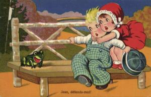 Artist Margret Boriss, Young Girl afraid of Frog (1933) II