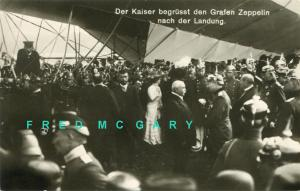 1912 Germany RPPC: Kaiser Greets Count Zeppelin