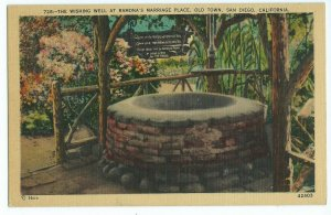 Ramona's Marriage Place Wishing Well Herz Postcards Old Town San Diego CA VPC1.