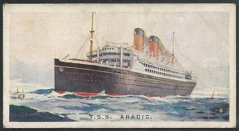 Canada 1924 Imperial Tobacco T.S.S. ARABIC Ships ot the World Cigarettes Card