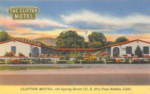 CLIFTON MOTEL Paso Robles, California Roadside ca 1940s Vintage Linen Postcard
