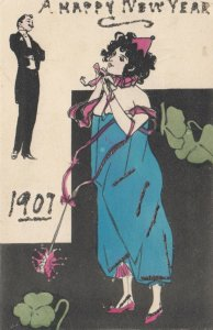 NEW YEAR, 1907; A Happy New Year, Man in tux, Woman in blue with pink streamers