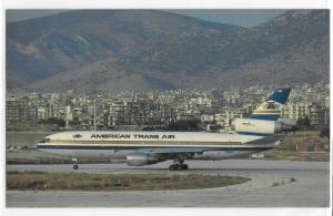 American Trans Air Blue Gold Livery DC-10 On Ground City Mountains Postcard