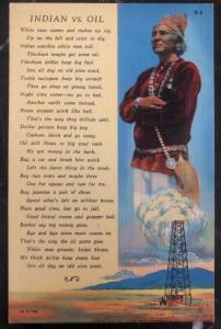 Mint USA Picture Postcard Native American Indian Versus Oil Poem