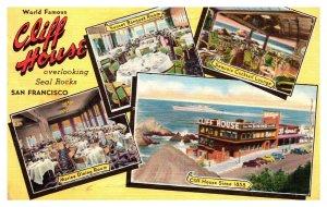 Postcard Cliff House Restaurant San Francisco California 1956 pc1673