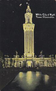Illinois Chicago White City At Night Tower Illumination Curteich