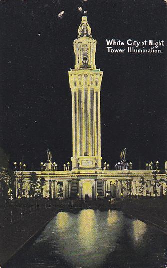 Illinois Chicago White City At Night Tower Illumination Curteich