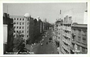 india, BOMBAY, Phirozshah Mehta Road (1950s) RPPC Postcard