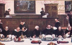 Tate Gallery London Monk Christmas Dinner Fish On Friday Tucks Oilette Postcard