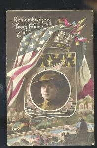 REMEMBRANCE FROM FRANCE WWI VINTAGE SOLDIERS MAIL SEDALIA MISSOURI POSTCARD