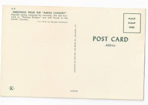 Amish Covered Bridge Pa Dutch Kissing Bridge Postcard