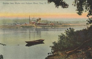 TROY, New York, PU-1908; Burden Iron Works and Hudson River