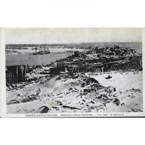 Postcard 'Terrible Halifax Disaster, Wreckage Sugar Refinery, S.S. Imo in dist