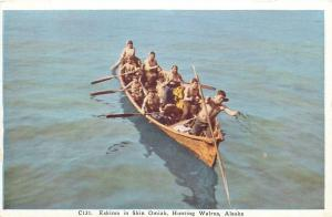 Alaska~Eskimos in Skin Omiak~Walrus Hunters~1920s Postcard