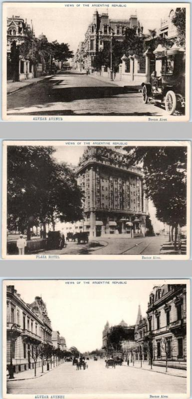 3 Postcards  BUENOS AIRES,  ARGENTINA    2 Street Scenes & Plaza Hotel  c1910s