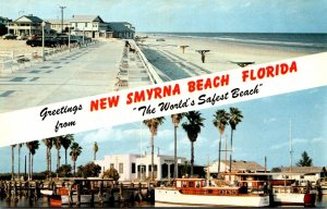 Florida Greetings From New Smyrna Beach Showing Beach Boardwalk and Yacht Basin