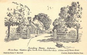 Falls Township-Bucks Co Pennsylvania~Pennsbury Manor Entrance~Drawn Image~'50s