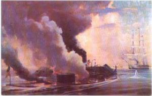 Painting of Monitor & Merrimac Battle at Hampton Roads VA
