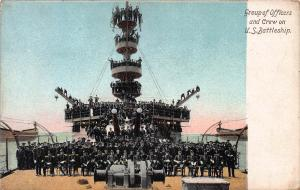 Group of Officers and Crew on U.S. Battleship, Early Postcard, Unused