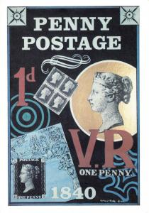 Postal History Postcard, Penny Postage, Penny Black by Richard Blake (1990) V3