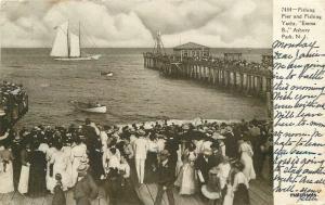 Asbury Park New Jersey 1908 Fishing Pier Yacht Souvenir undivided postcard 9459
