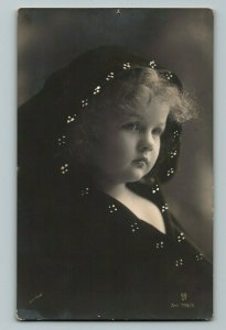 Hooded Girl w/ Curly Hair Sad Mourning Handpainted European Postcard early 1900s