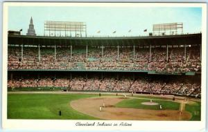 CLEVELAND MUNICIPAL STADIUM, Ohio OH  INDIANS IN ACTION Team on Field Postcard