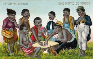 LA VIE AU CONGO, Une Partie De Piquet, 1900-10s; Playing cards on tree stump