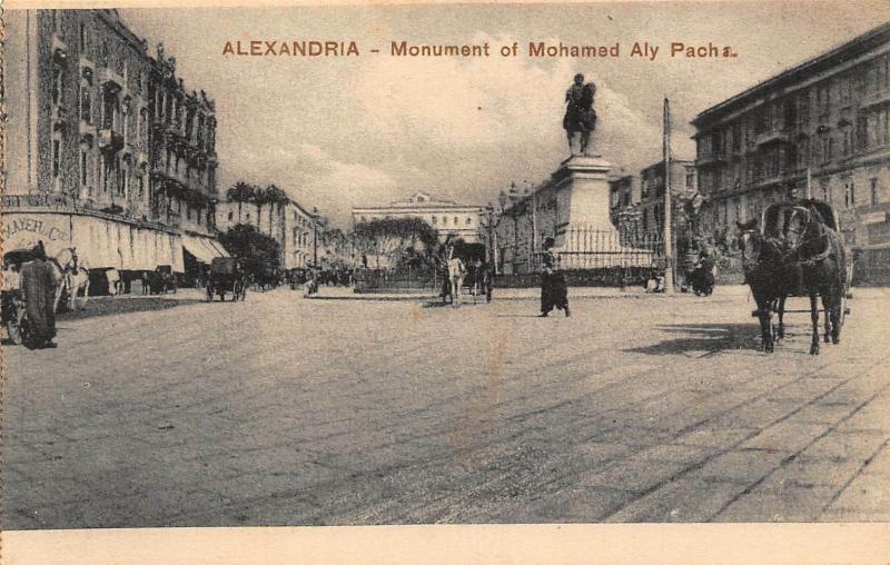Egypt Alexandria Monument of Mohamed Aly Statue Postcard