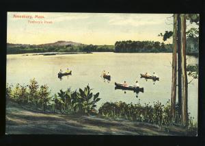 Amesbury, Massachusetts/MA/Mass Postcard, Tuxbury's Pond, Canoes
