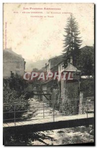 Old Postcard Ax les Thermes The stream of & # 39Ascou through town