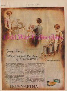 Vintage 1927 Fels-Naptha Soap, Women Doing Laundry by Hand, Full Page Color