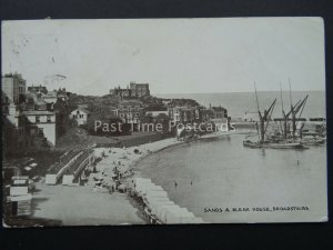BROADSTAIRS Sands & Bleak House shows Thames Barges c1920 Postcard by J.R.Gale