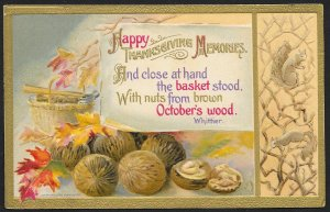 Happy Thanksgiving Memories Whole Nuts Hammer & Leaves Used c1913 Winsch