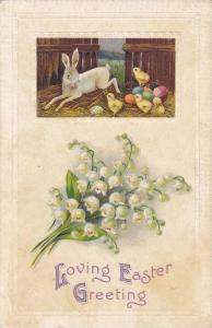 Easter Greetings, Rabbit, Chicks, & Colorful Easter Eggs, Loving Easter Gree...