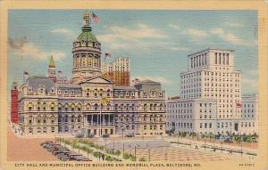 City Hall And Municipal Office Building And Memorial Plaza Baltimore Maryland...