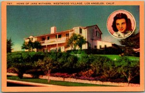 1940s Los Angeles CA Postcard Home of JANE WITHERS, Westwood Village Linen