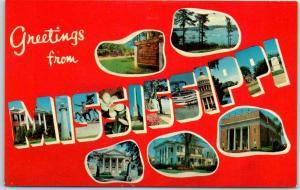 MISSISSIPPI Large Letter Postcard Multi-View - Dexter Chrome c1950s Unused