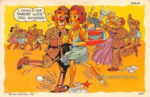 Military Comic Postcard, Old Vintage Antique Post Card Stomp 1944 Missing Stamp
