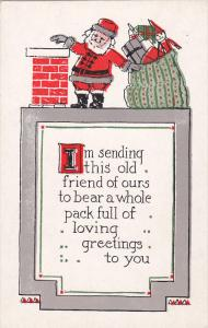 CHRISTMAS; Santa Claus next to chimney with bag of toys, Poem, Silver detail,...
