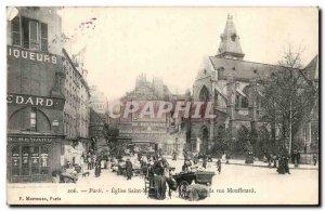 Paris Postcard Ancient Church Saint Menard Street Perspective Mouffetard