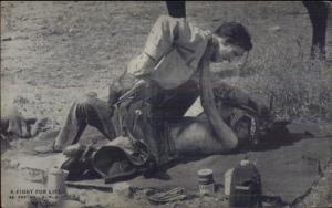 Cowboy Actor Arcade Exhibit Card c1920s-30s FIGHTING NATIVE INDIAN